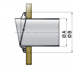 VETUS stainless steel transom exhaust connection, check valve, 51 mm