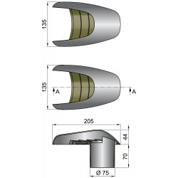 VETUS shell ventilator TYPHOON, 75 mm, stainless steel (AISI 316)