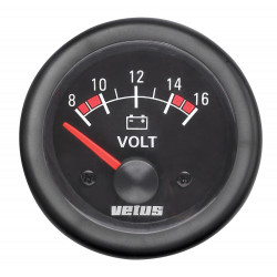 VETUS voltmeter, black, 12 V (8-16 V), cut-out size 52mm