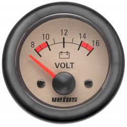 VETUS voltmeter, cream, 12 V (8-16 V), cut-out size 52mm