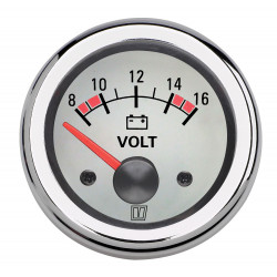 VETUS voltmeter, white, 12 V (8-16 V), cut-out size 52mm